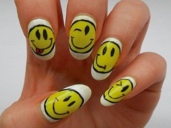 White Nails with Smiling and Winking Faces