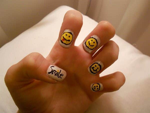 White Nails with Smile Word and Happy Faces