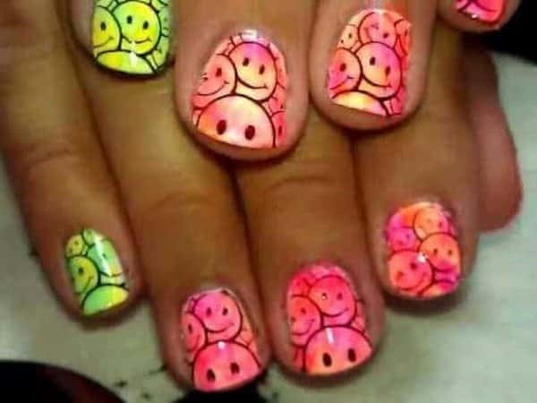 Pink and Green Smiley Face Nails