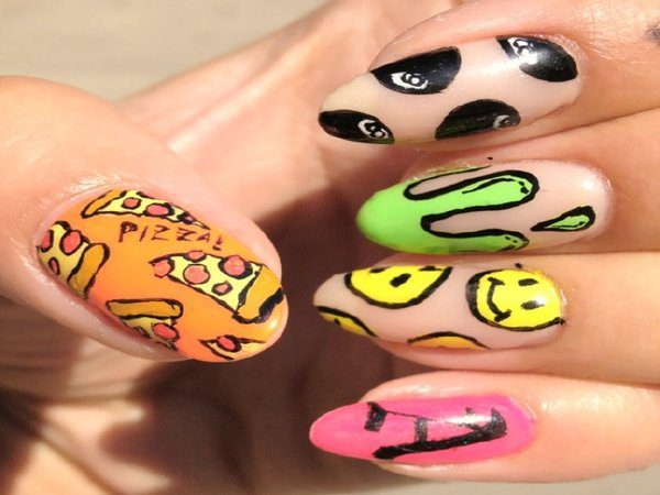 Fun Nails with One Nail Smiley Face Design