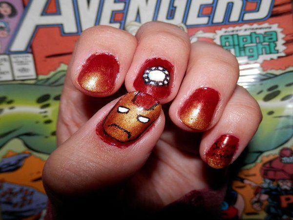 Red and Gold Nails with Iron Man Face and Arc Reactor
