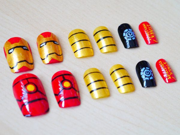Set of Iron Man Nails with Mask, Armor, Gold and Black Stripes, Arc Reactor and Stark Industries Words