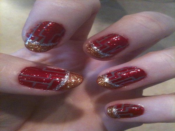 Red Glitter Nails with Gold Tip, Silver Stripe, and Grey Lines