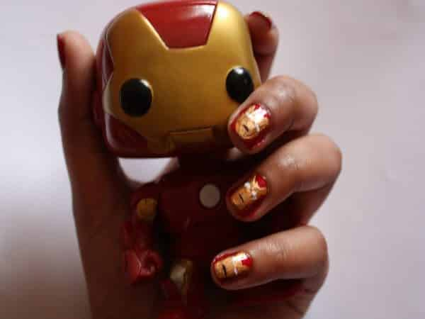 Red Nails with Iron Man Masks