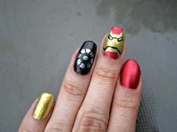 Red, Gold, and Black Nails with Iron Man Mask and Arc Reactor
