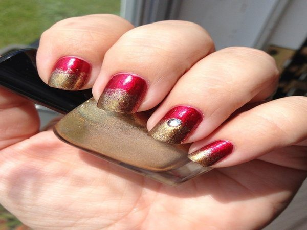 Half Red Half Gold Nails with Rhinestone