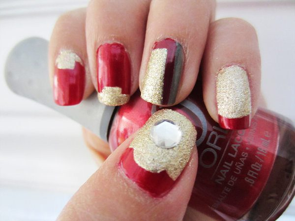 Glitter Gold and Red Nails with Rhinestones