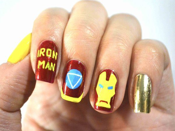 Red, Yellow, and Gold Comic Book Iron Man Nails with Mask, Words, and Arc Reactor