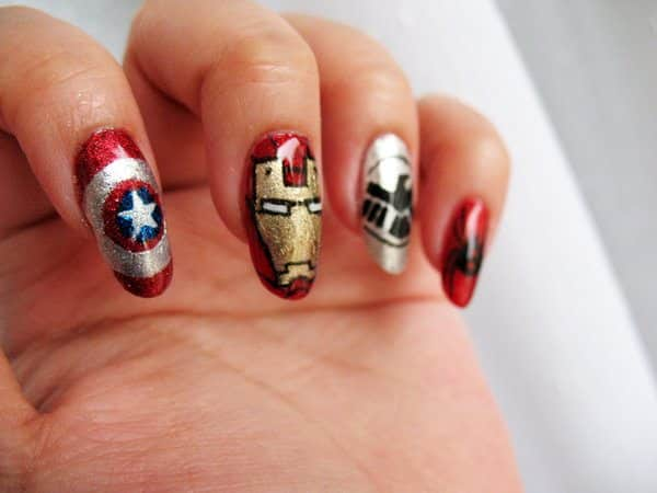 The Avengers Nails with Gold and Red Iron Man Nail