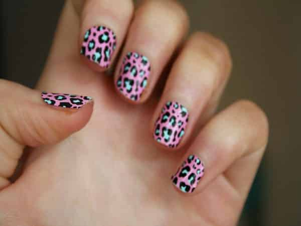 Pink Leopard Nails