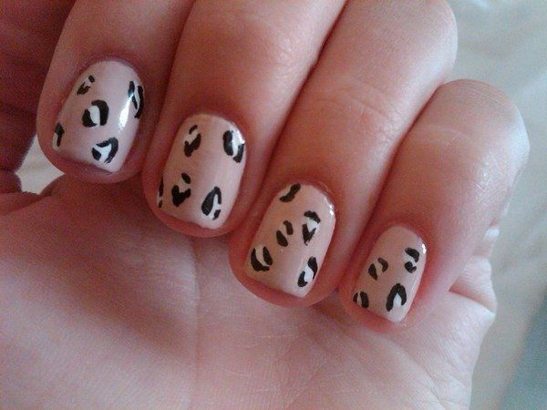 Tan Nails with Leopard Spots