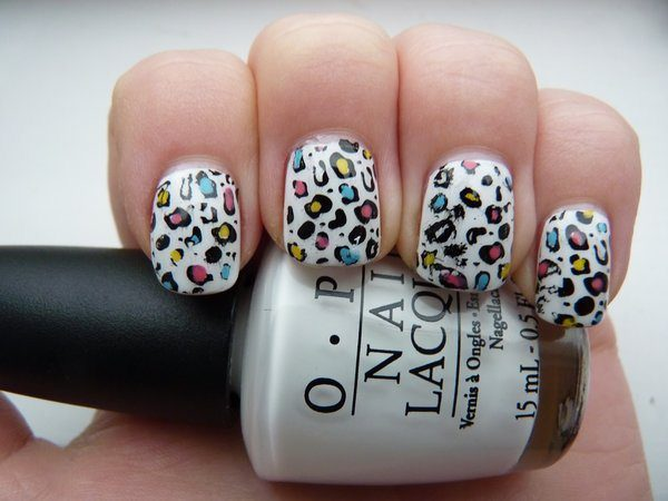 White Nails with Rainbow Spots