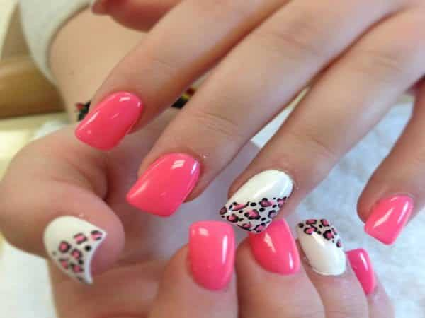 Pink Nails with Two White Nails with Pink Leopard Spots