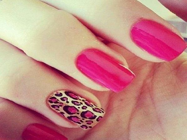 Dark Pink Nails with Brown and Pink Leopard Spots