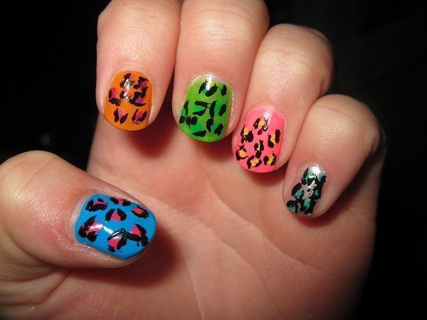Blue, Orange, Green, Pink and Clear Leopard Nails