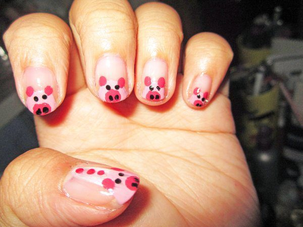 Clear Nails with Pink Piggies