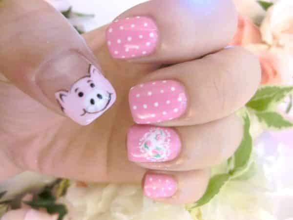 Light Pink Nails with Polka Dots, One Heart and One Piggy Nails