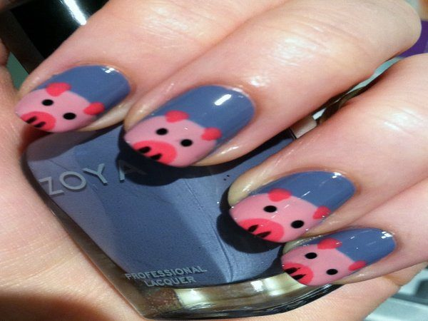 Grey Nails with Pink Piggies