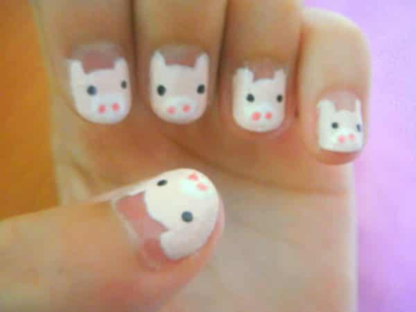 Peach Nails with Light Pink Piggies