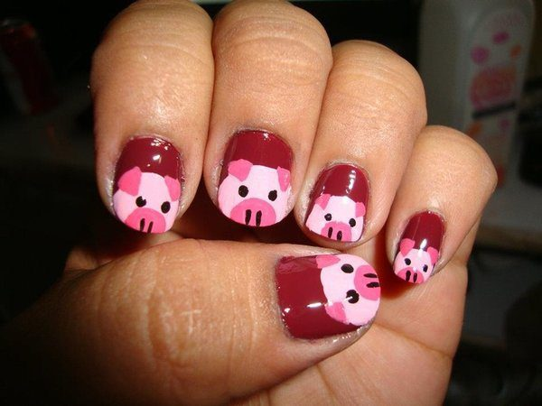 Maroon Pink Piggy Nails - 10 Pretty Pig Nail Art Designs