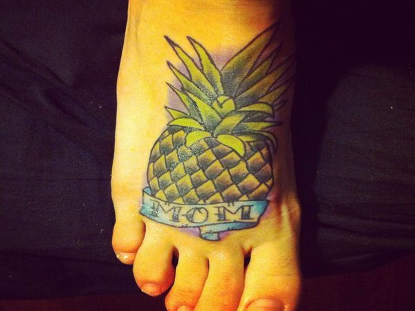 Colored Pineapple with Purple Coloring Mom Tattoo