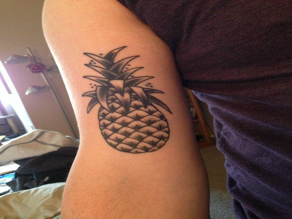 Pineapple Outline with Spots Arm Tattoo
