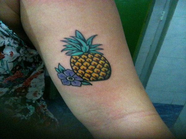 Small Colored Pineapple with Purple Flower Tattoo