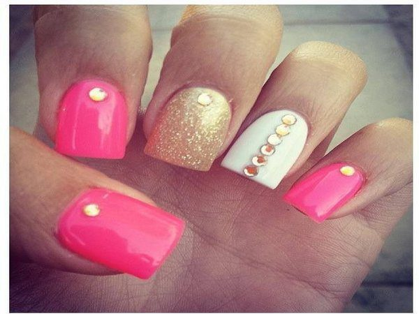 Medium Pink Nails With White Nail And Gold Rhinestones Glitter
