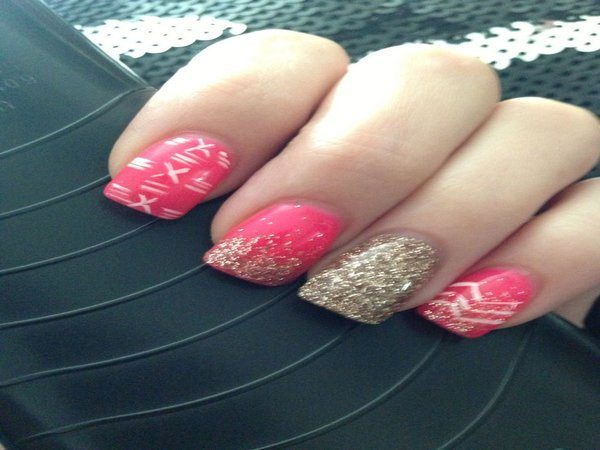 Pink Nails with Gold  Glitter, Gold Lines, and Single Gold Nail