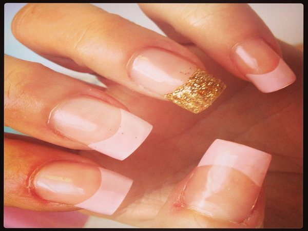 Plain Nails with Pink Tips and One Gold Tip