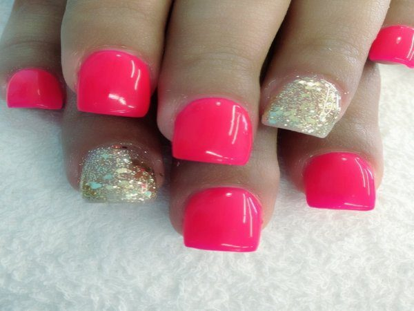 Neon Pink Nails with Gold Nails