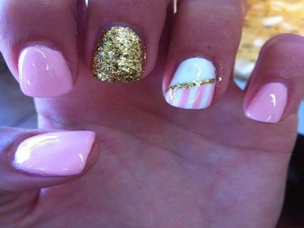 Baby Pink Nails with Half White Half Pink Nail, Gold Glitter Stripe, and Gold Glitter Nail
