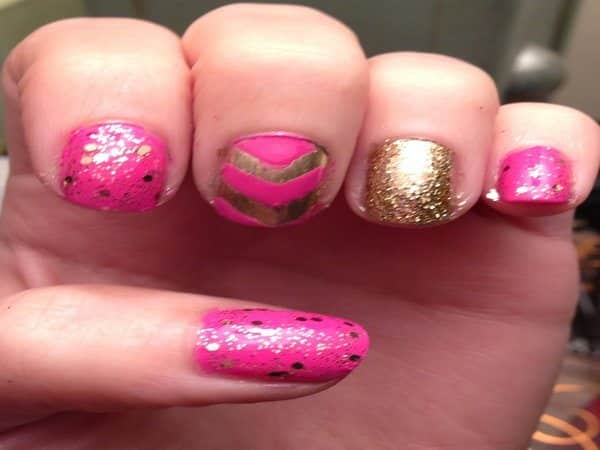 Medium Pink Nails with Gold Dust, Gold Nail, and Gold Designs