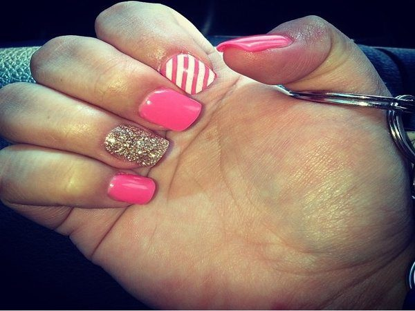 Pink Nails with Gold Nail, and White and Pink Striped Nail