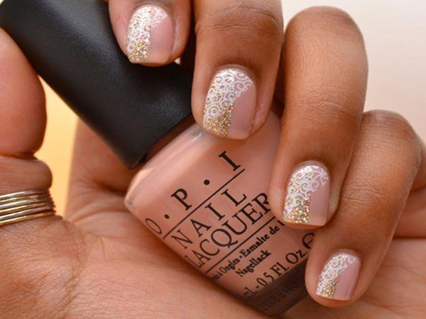 Light Pink Nails with Gold Accents