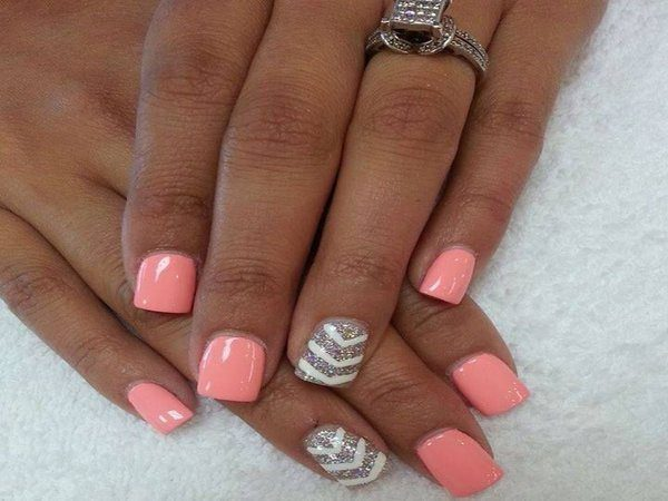 Salmon Pink Nails with White and Gold Chevron Designs