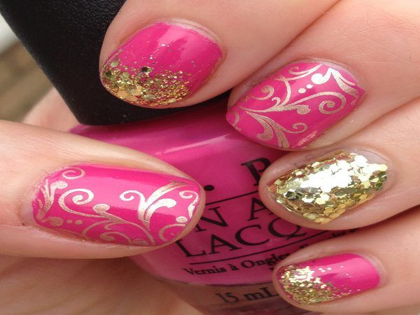 Robust Pink with Gold Designs, Gold Glitter and One Gold Nail