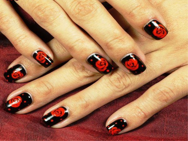 Black Nails with Red Roses and Red Dots