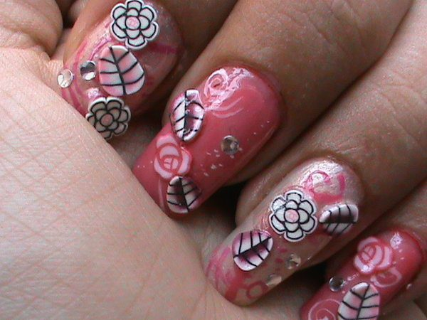 Pink Nails with Flowers, Roses, Rhinestones, and Leaves