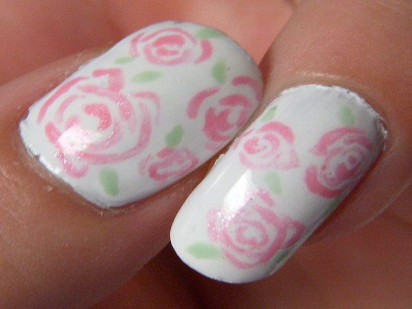 White Nails with Light Pink Roses