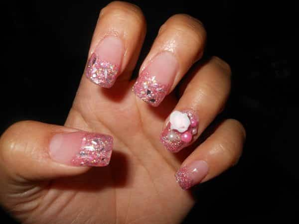 Pink Glitter Nails with White Roses and Pink Pearls