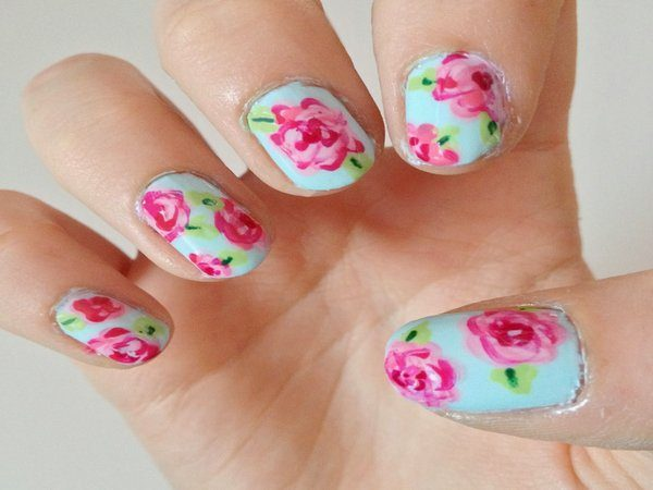 Light Green Nails with Pink Roses