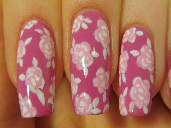 Pink Nails with Light Pink Roses