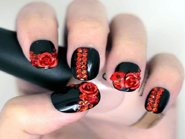 Black Nails with Red Roses and Red Rhinestones