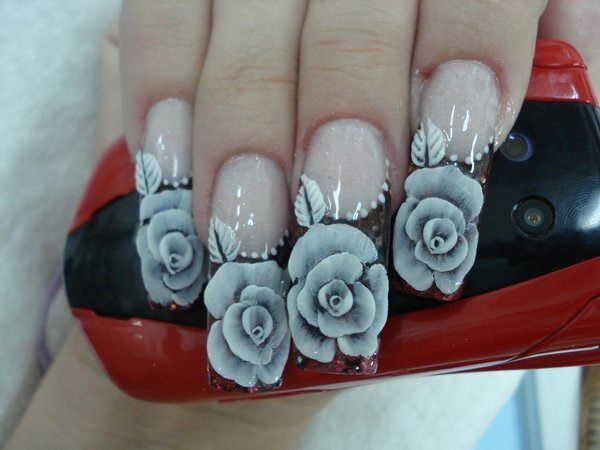 Clear Nails with Long Black Tips and Painted White Roses