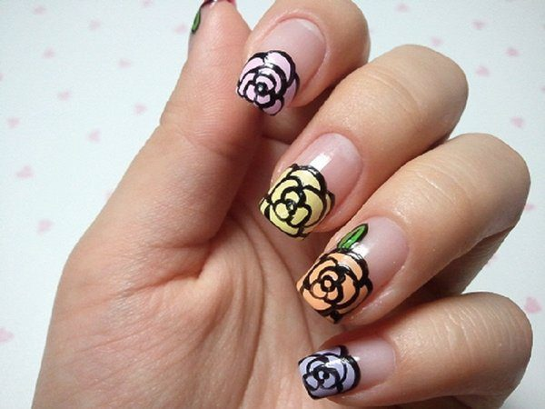 Clear Nails with Black Lined Multicolored Roses