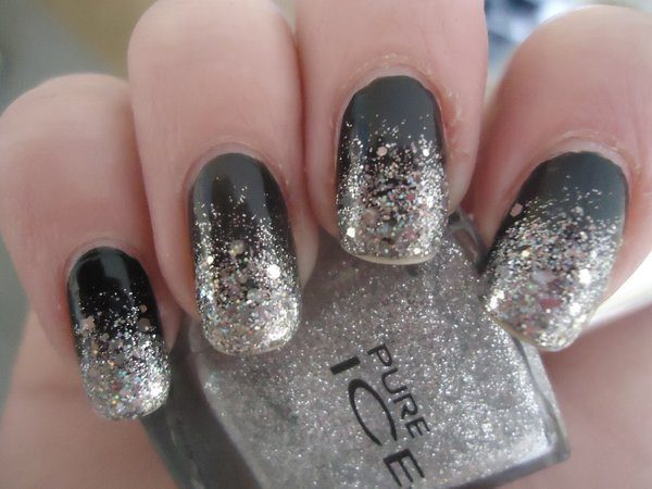Half Black and Half Silver Glitter Nails