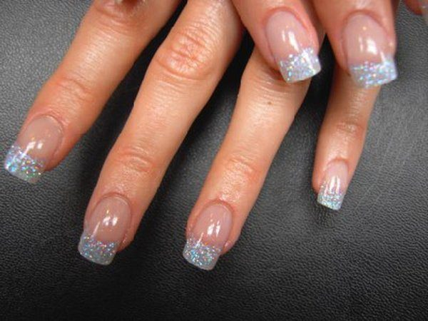 Plain Nails with Silver Glitter Tips