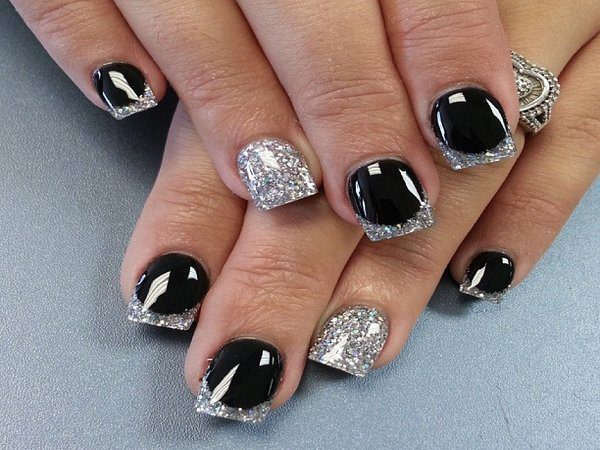 Silver Nails and Black Nails with Silver Tips
