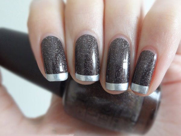 Black Glitter Nails with Silver Tips